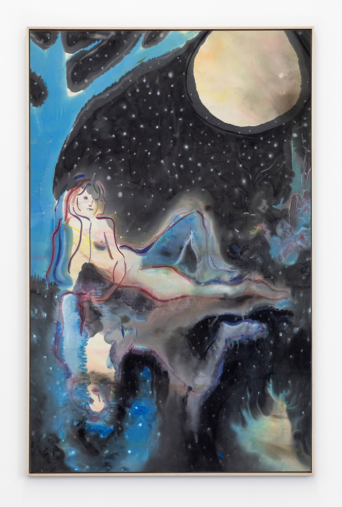 Moon Twin , 2019, acrylic ink and paint on satin, 42.5 x 27 inches