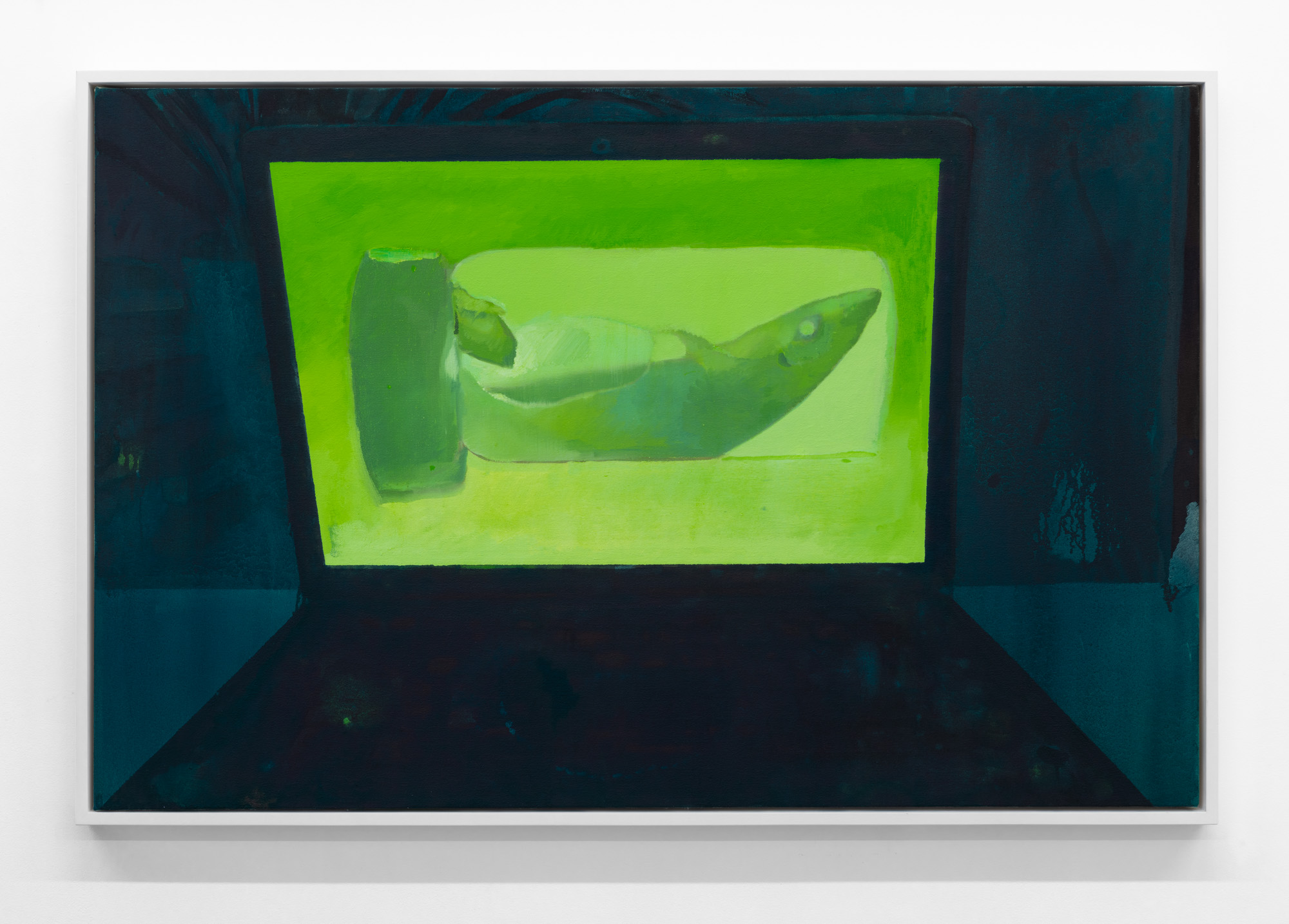 Night Computer (Preserved Shark) , 2019, oil on canvas, 26 x 40 inches