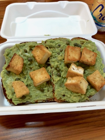 Toast with avocado mash, capers and tofu
