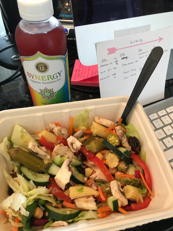 Lunch at the desk: basically a kitchen sink salad with lettuce, spinach, chickpeas, pickled okra, mushrooms, nuts, three bean salad, raisins, baby corn, carrots, cucumbers, red peppers and peas!