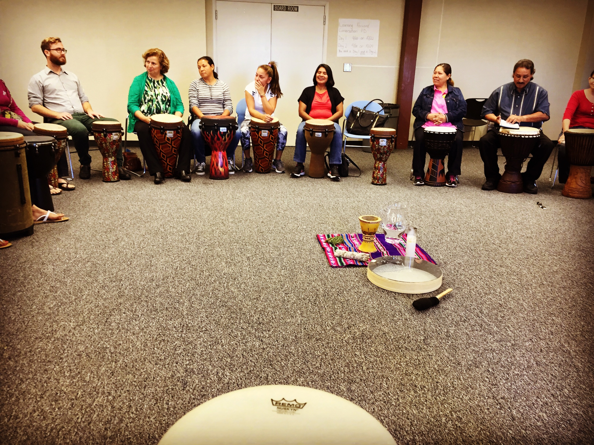 A traditional healing drumming circle at Bi-National Health Week 2015...Incredible to learn one of the many ways to heal ourselves and our lives.