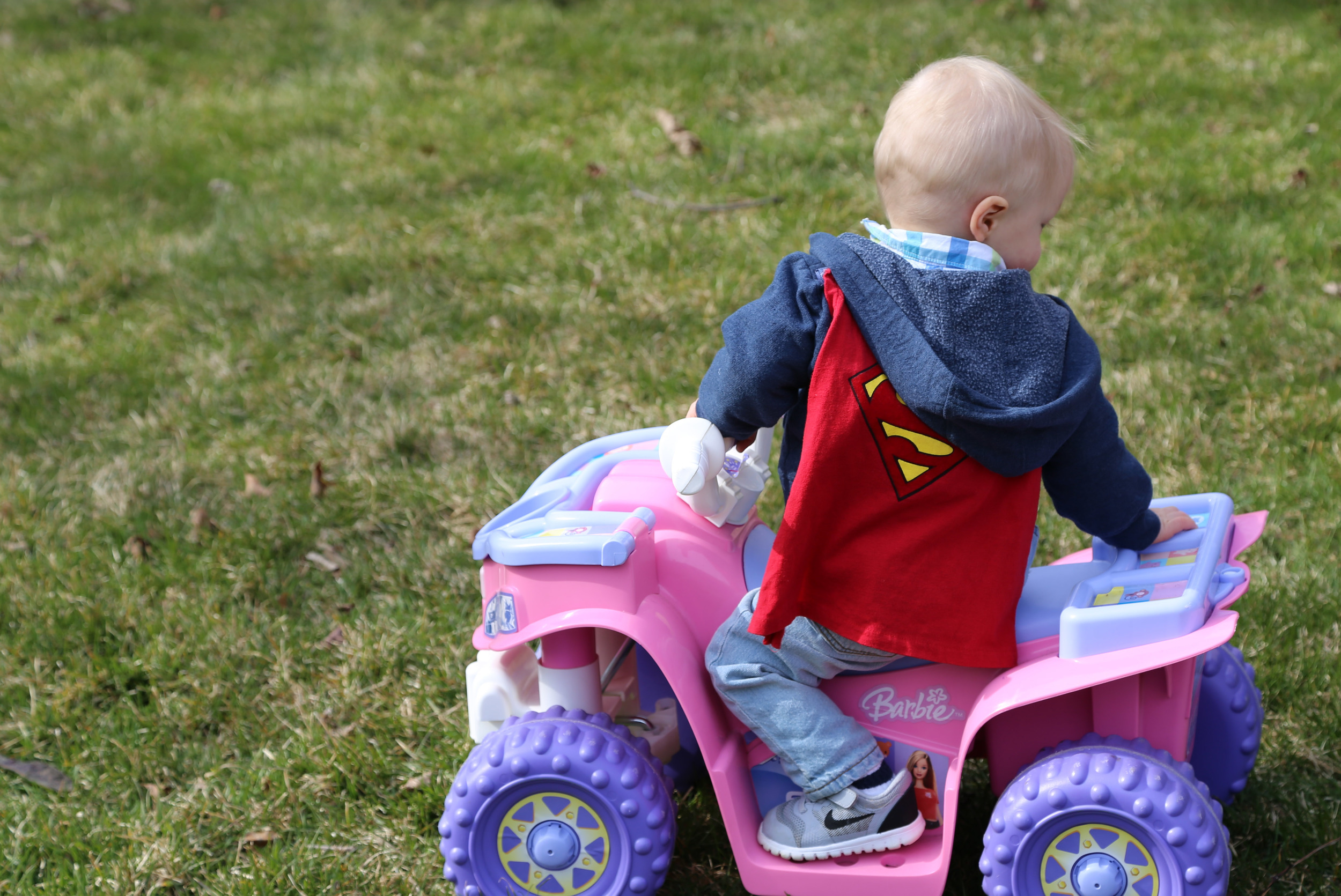 Ya know, Superman always rides in his cousin's Barbie Car!