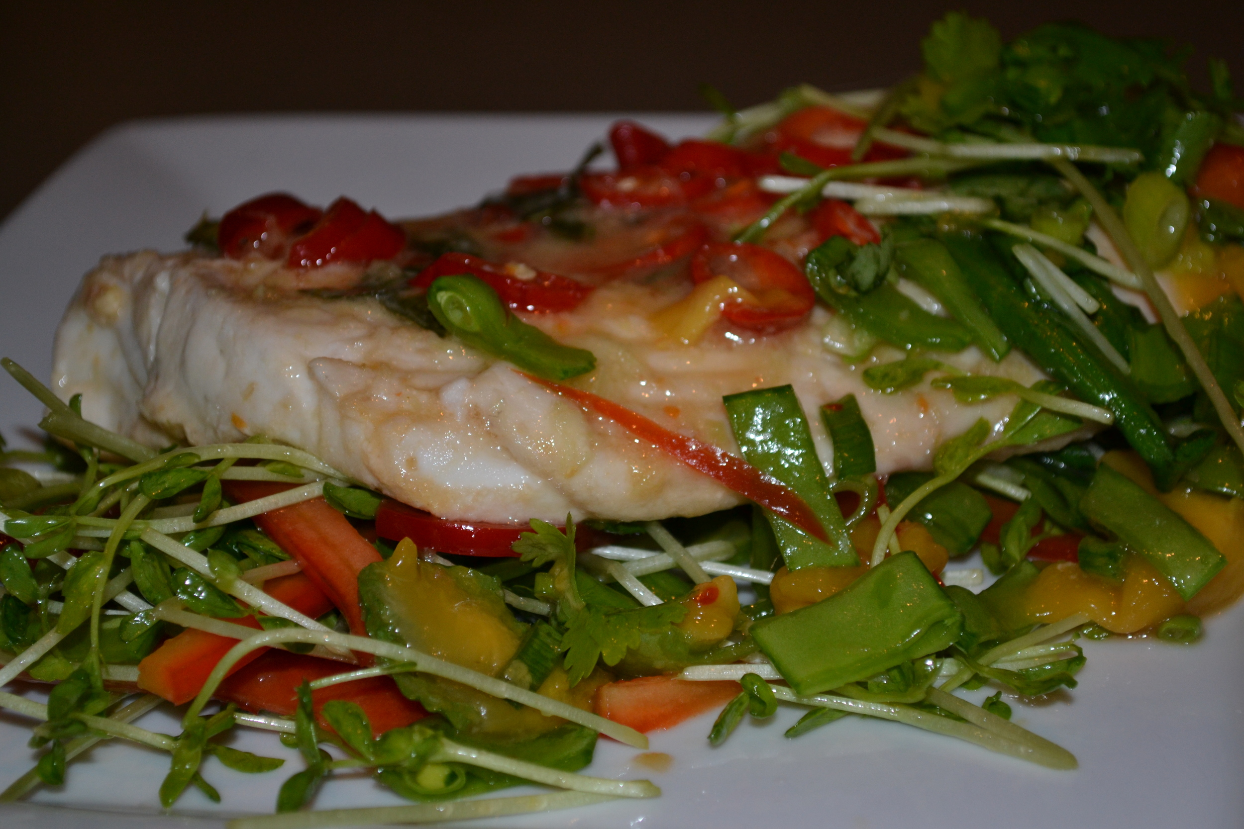 Hot and Sour Steamed Fish with Thai Salad