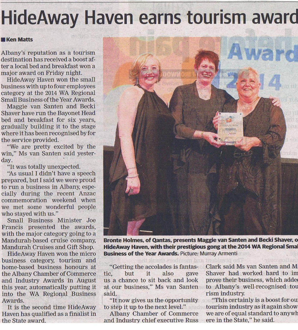 HideAway Haven earns Tourism Award