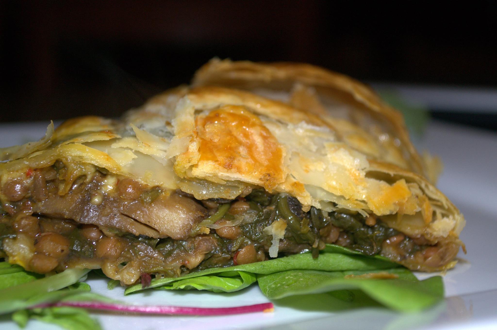 Spinach, Mushrooms and Lentils