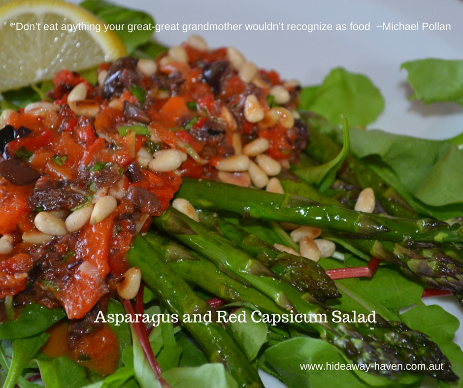 Asparagus and Red Capsicum Salad at HideAway Haven