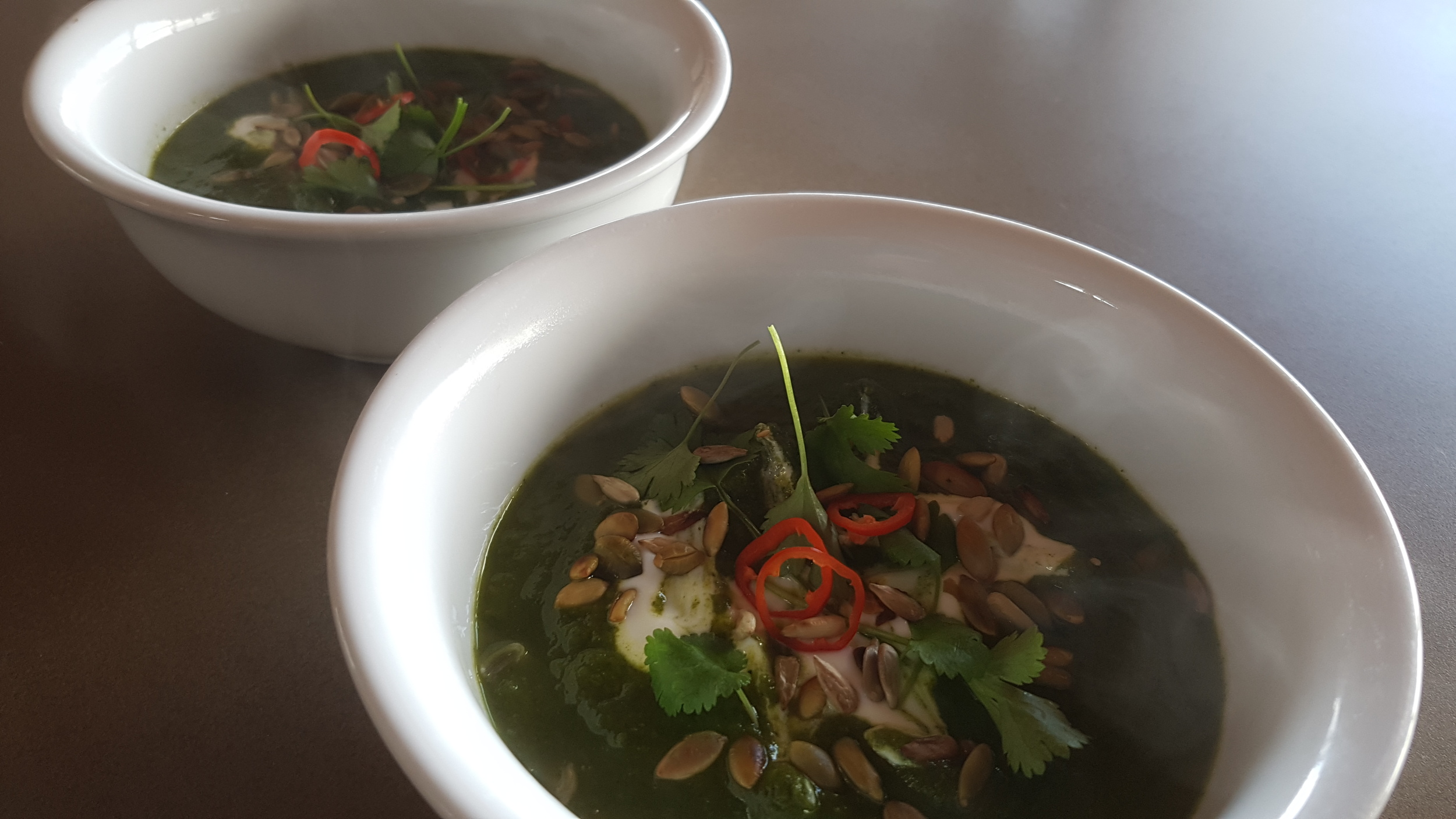Vegetarian Kale soup at HideAway Haven Luxury in Albany