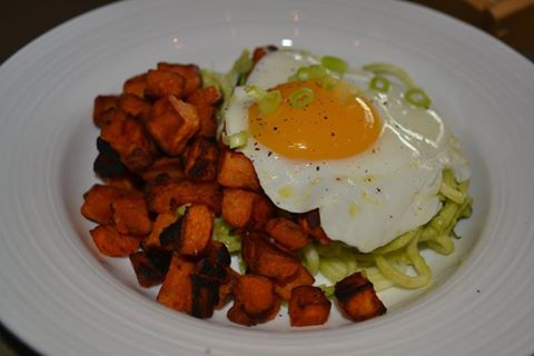 Zucchini Noodles with Avocado Cream and roasted sweet potatoes. Healthy, Vegan and Delicious Breakfast Bowl