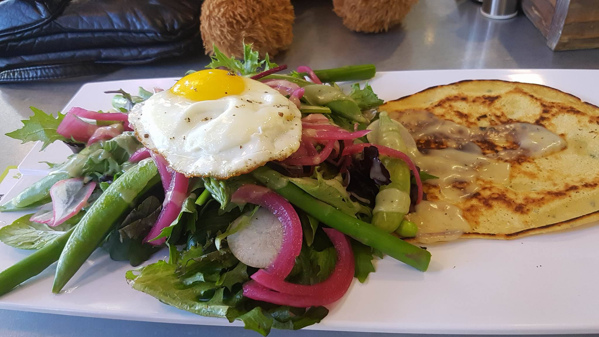GREEN: asparagus, spring peas, radish, egg, greens, chick pea crepe, chive buttermilk and white balsamic dressings (wheat-free & vegetarian)