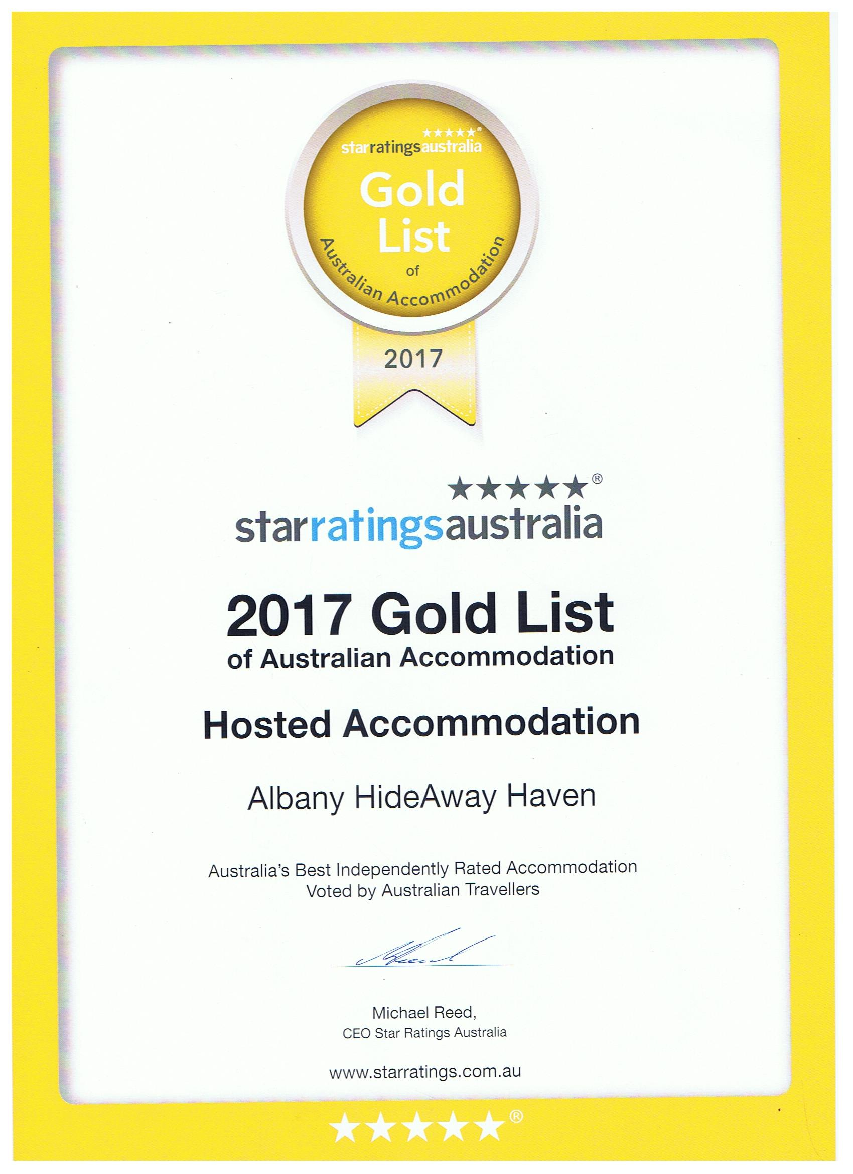 Winner GOLD List Hosted Accommodation  HideAway Haven