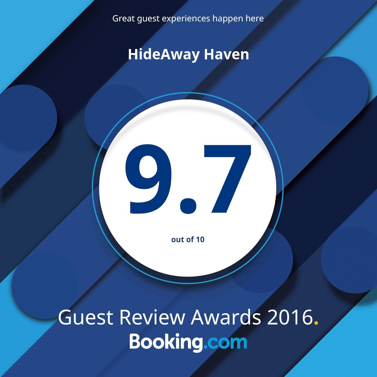 Guest Review Award 2016 Booking.com HideAway Haven