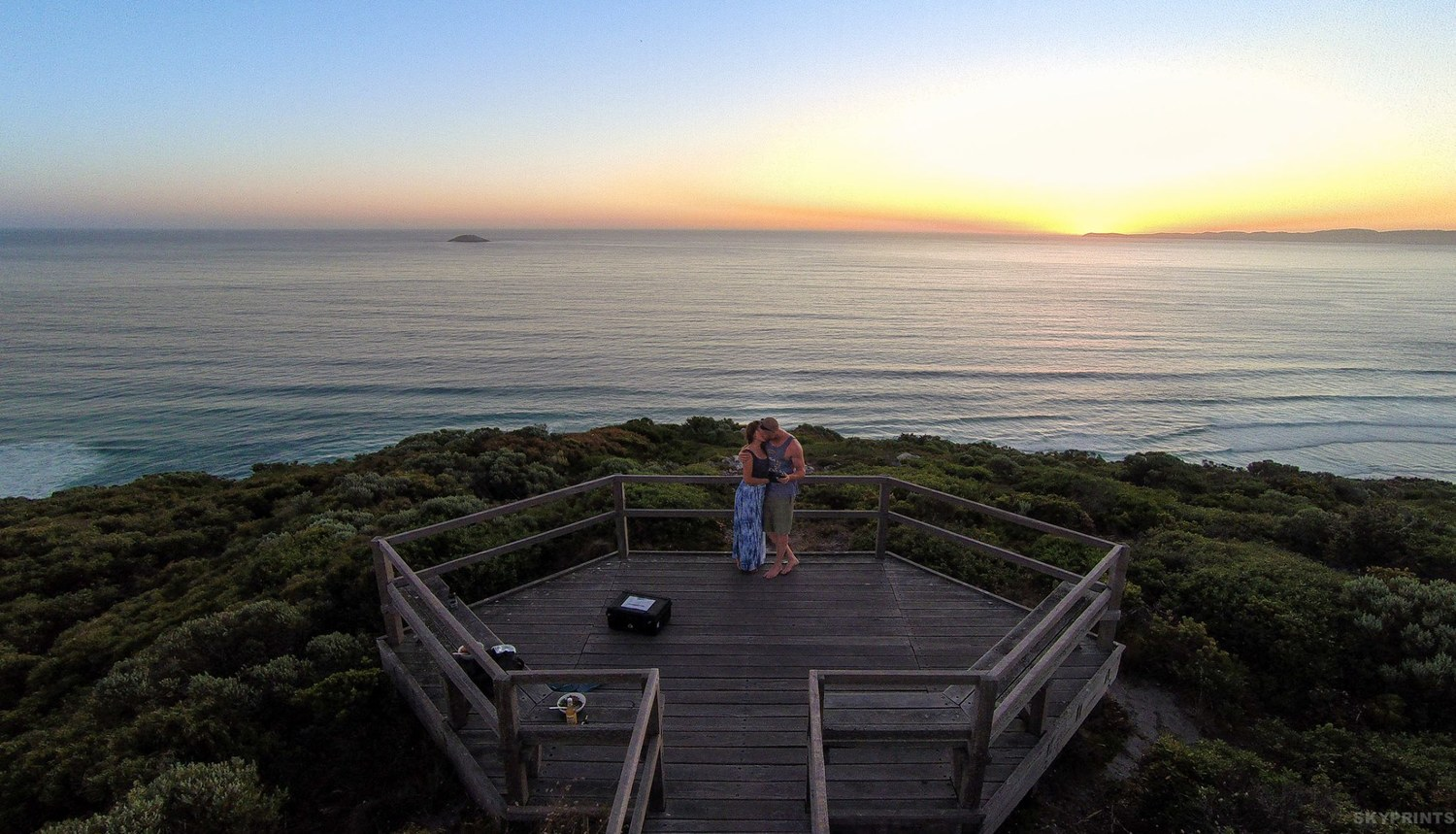 A romantic Sunset at The Sandpatch Albany Western Australia. Image Credit:  SKYPRINTS
