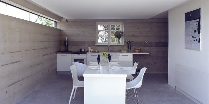 Minimalist interior with fewer modern conveniences.