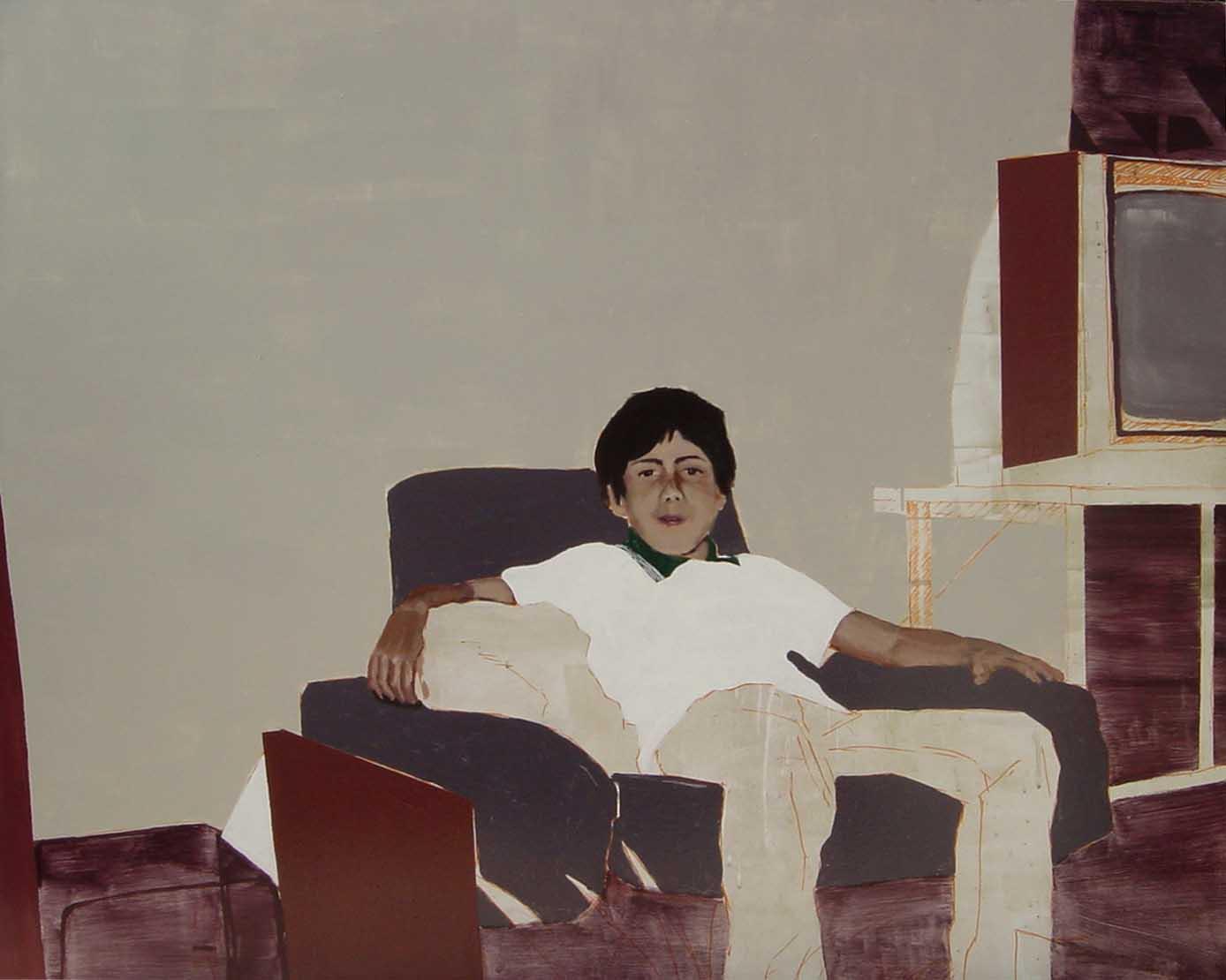 Living, 2004 Esmalte sintético sobre madera, 120x100 cm