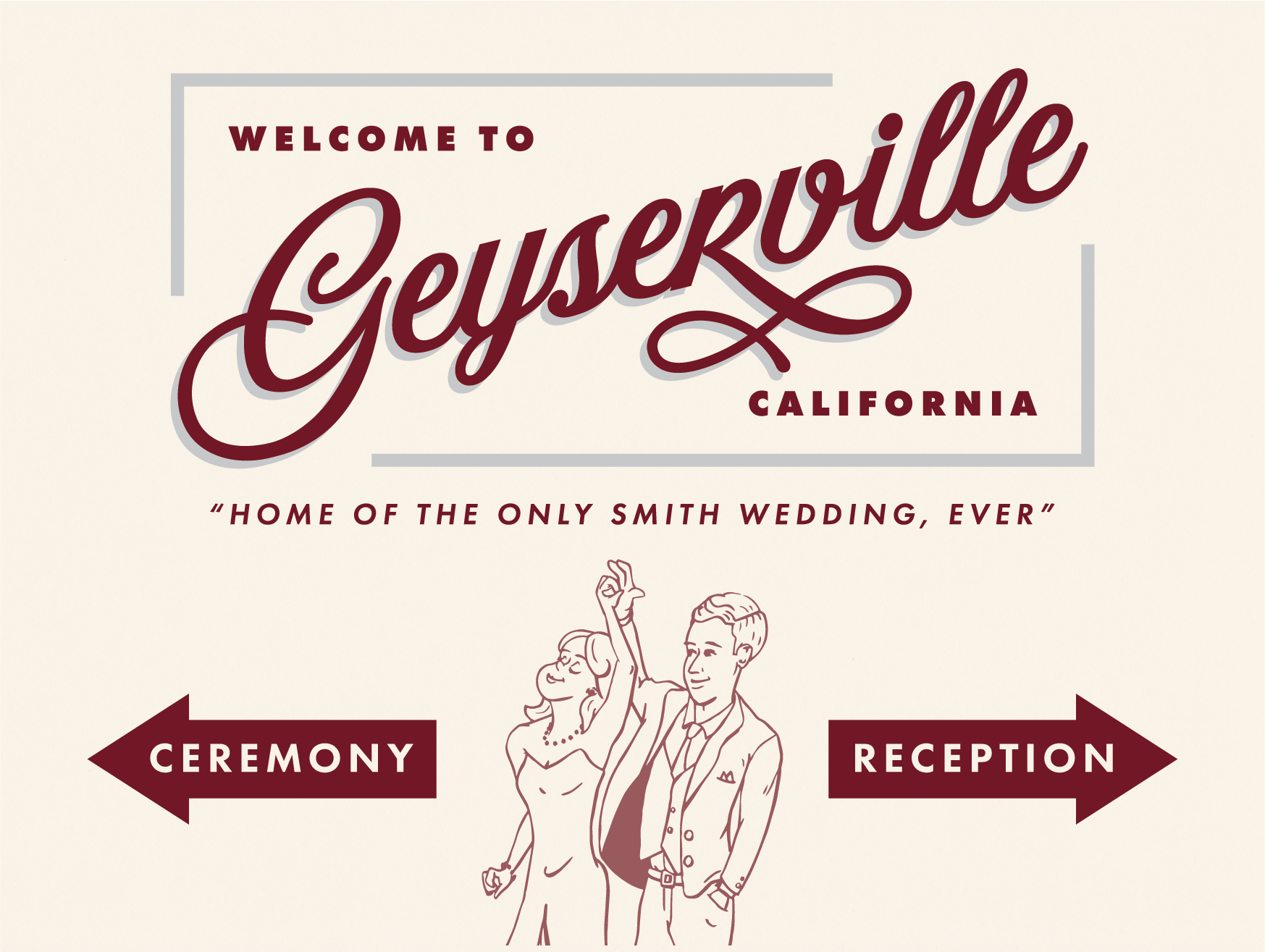 This was the sign in front of our wedding venue. My wife created the illustration of the two of us dancing, and we wanted to make the rest of the sign feel like it was something you'd see as you entered a little town.