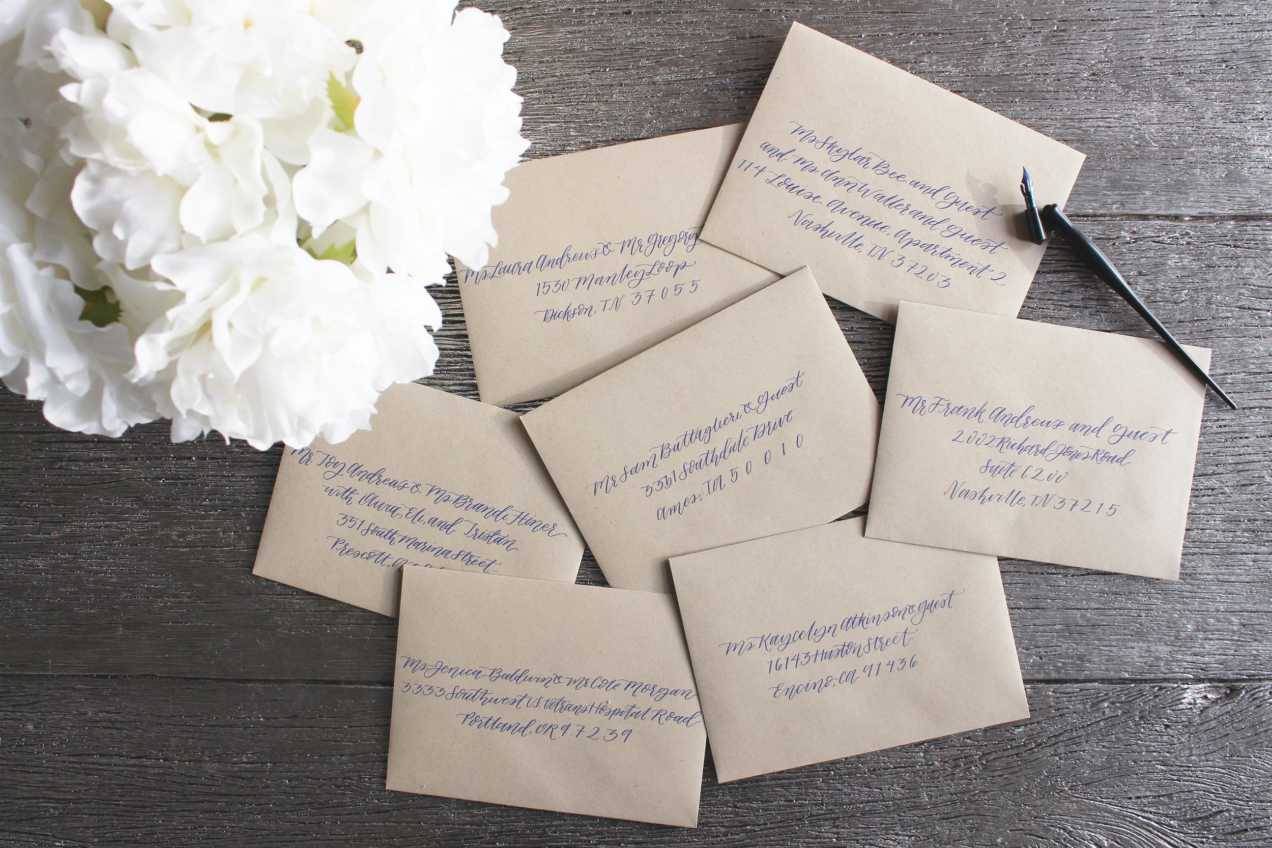 custom blue calligraphy on paper bag
