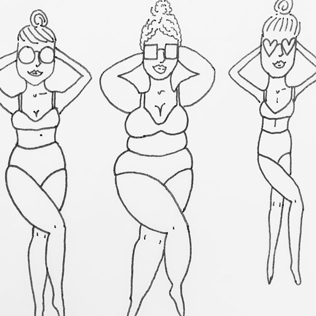 I've been trying to flex my illustrating muscles a little more lately 💪🏻✏️ here's one of my many recent doodles. I call this one Bikinis for EVERY Body. Inspired by my summer BFF, the high waisted bikini #highwaistedbikini #highwaistedtilidie