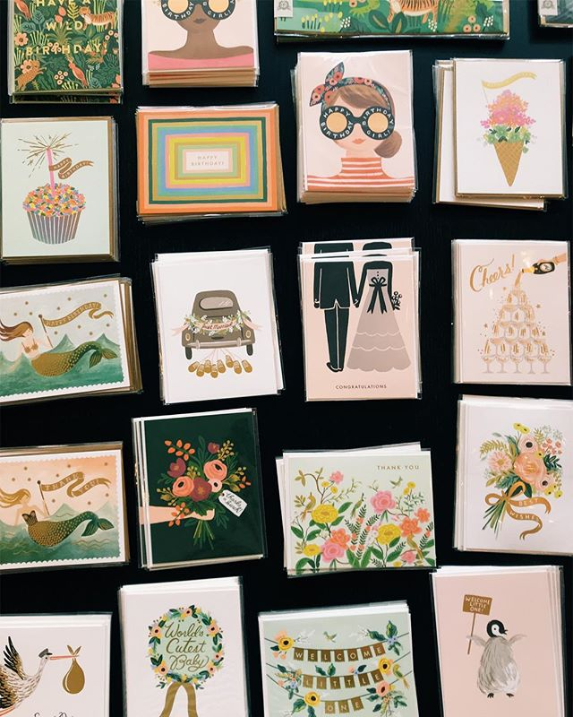 you know you're in the right job when a table full of @riflepaperco cards makes your heart flutter 😉 . I realized the other day that it was a year ago this week I emailed @paperdelights1 about a job opening (s/o forever to @_dorothyhuynh for tagging me in that post!!). I'm so thankful to be at the cutest little store in the whole world, working for women I admire and with coworkers I adore. ✨💞