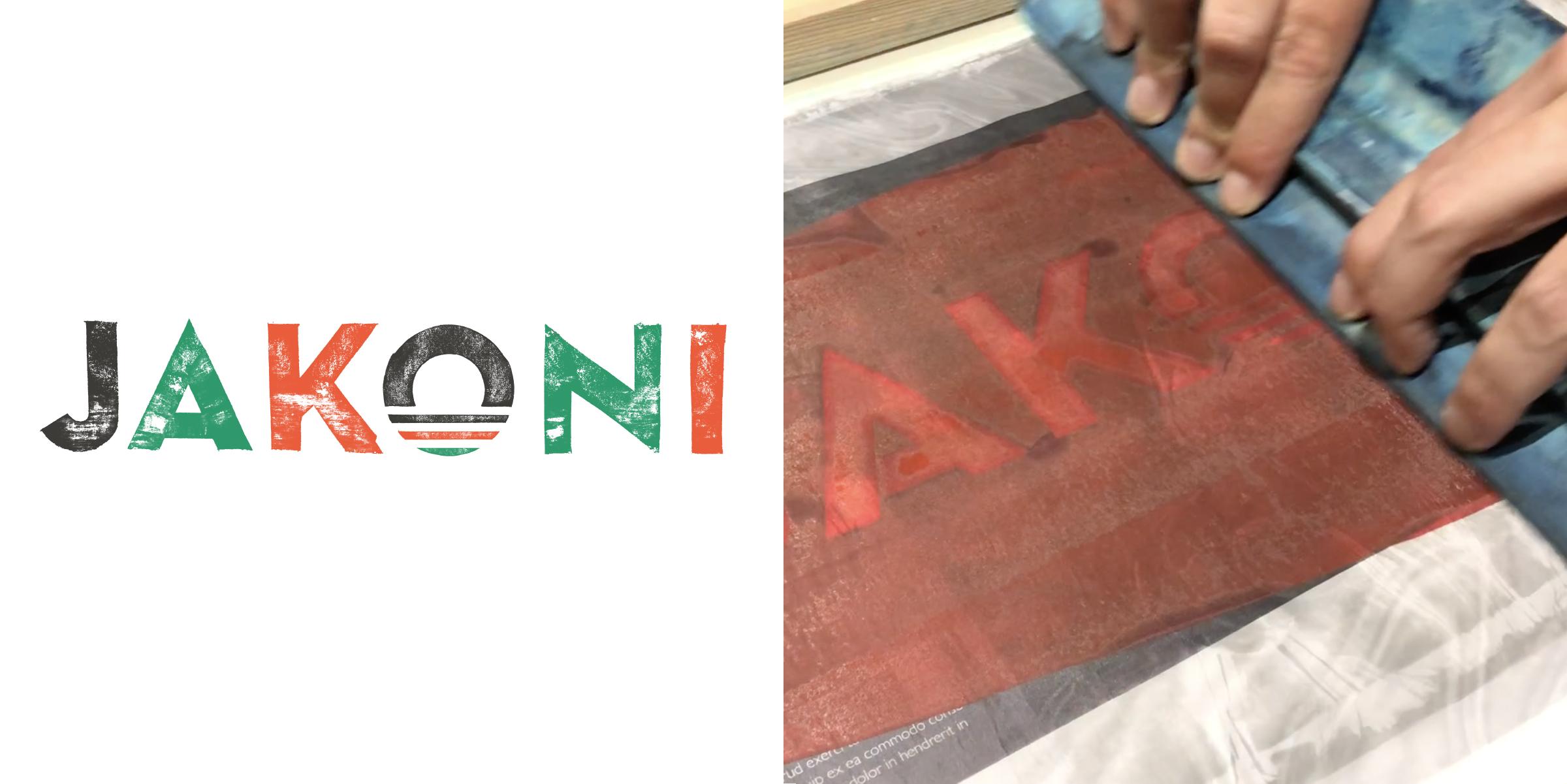 Jakoni Restaurant Logo - Screenprint by Hawk & Handsaw