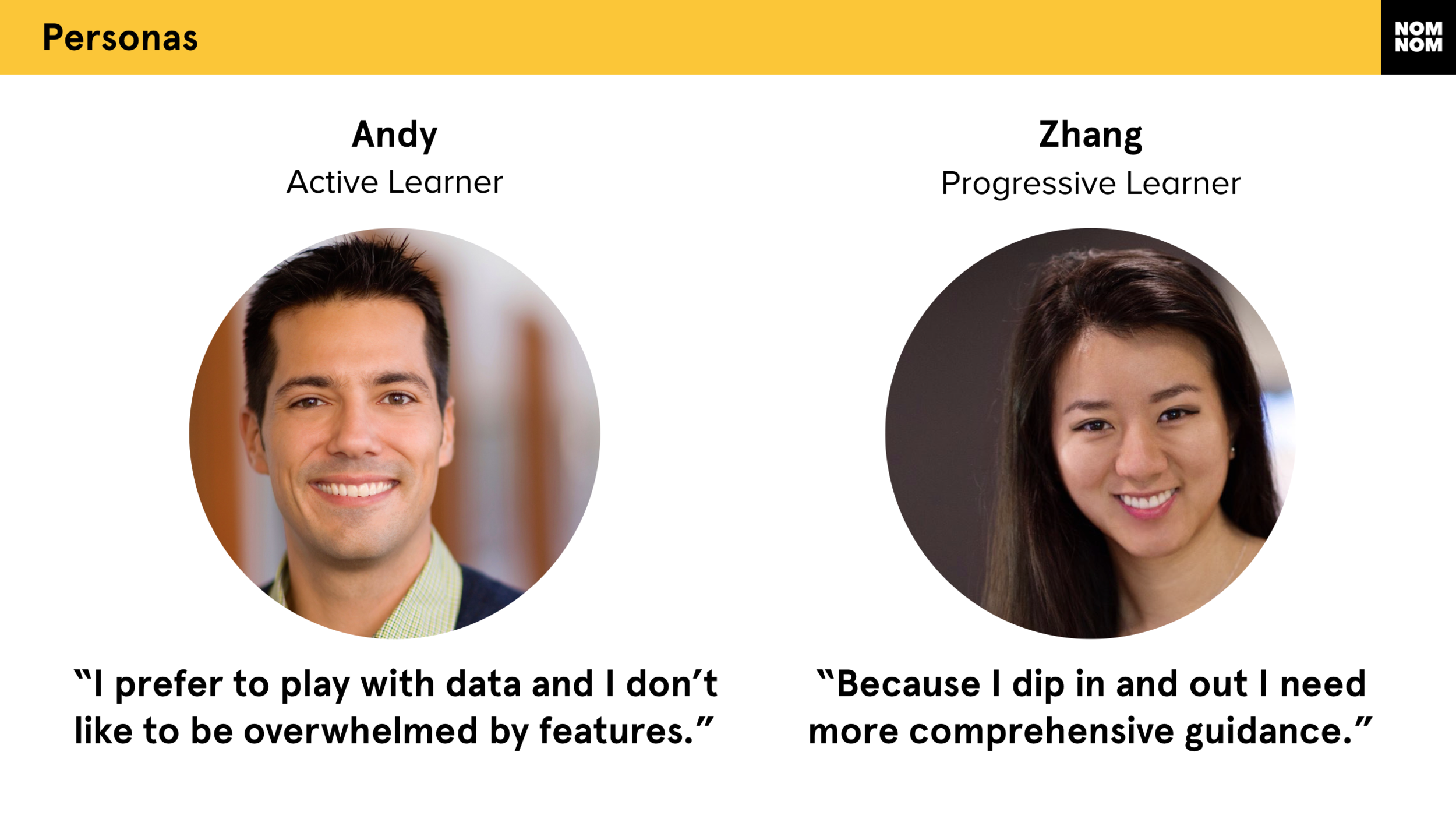 Our personas, Andy and Zhang