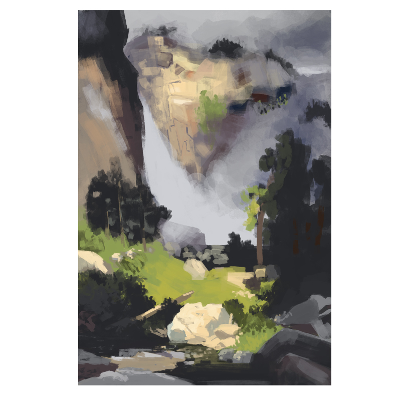 A study of the  Thomas Moran  painting Cascade Falls Yosemite.