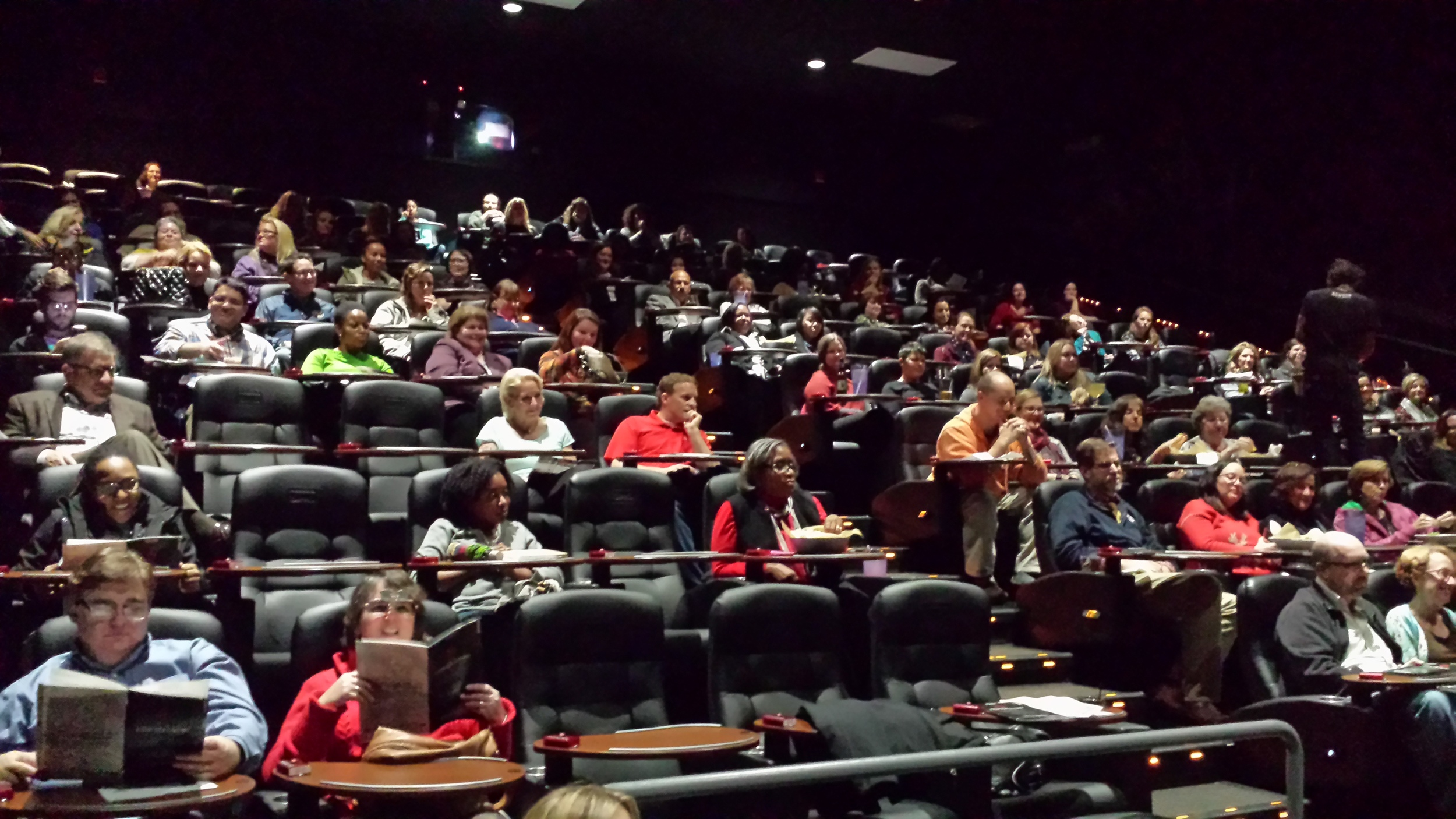 Attendees gather for the movie at the Epicenter.