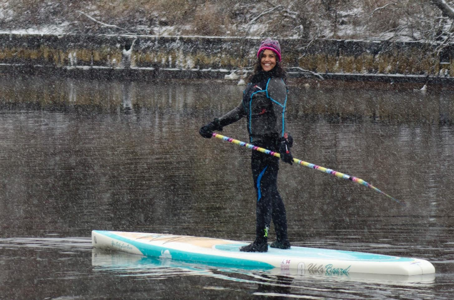 Karen Marvin of Babylon takes to the water on a canal during a day in January when it snowed and the temperatures dropped into the teens. (Credit: Tonya Simpson Photography)