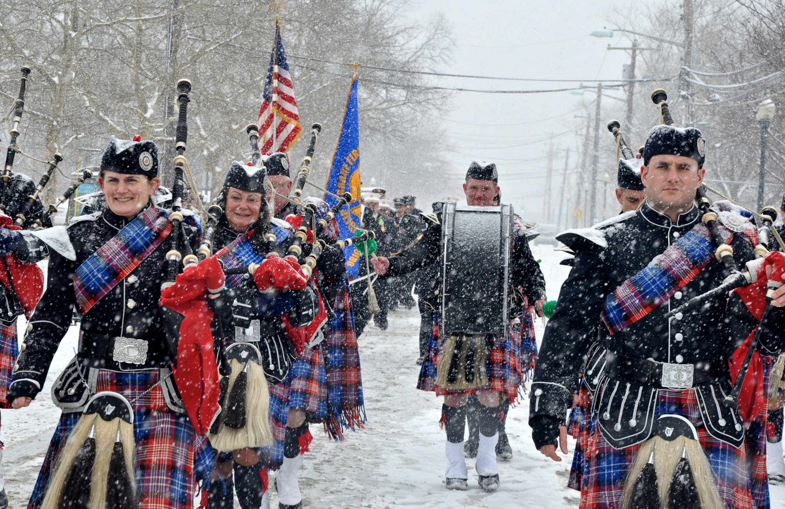 The Wantagh American Legion Pipe Band marches in the snow at the John P. Reilly Memorial East Islip St. Patrick's Day parade on Sunday, March 1, 2015. (Photo: Joseph Kellard)