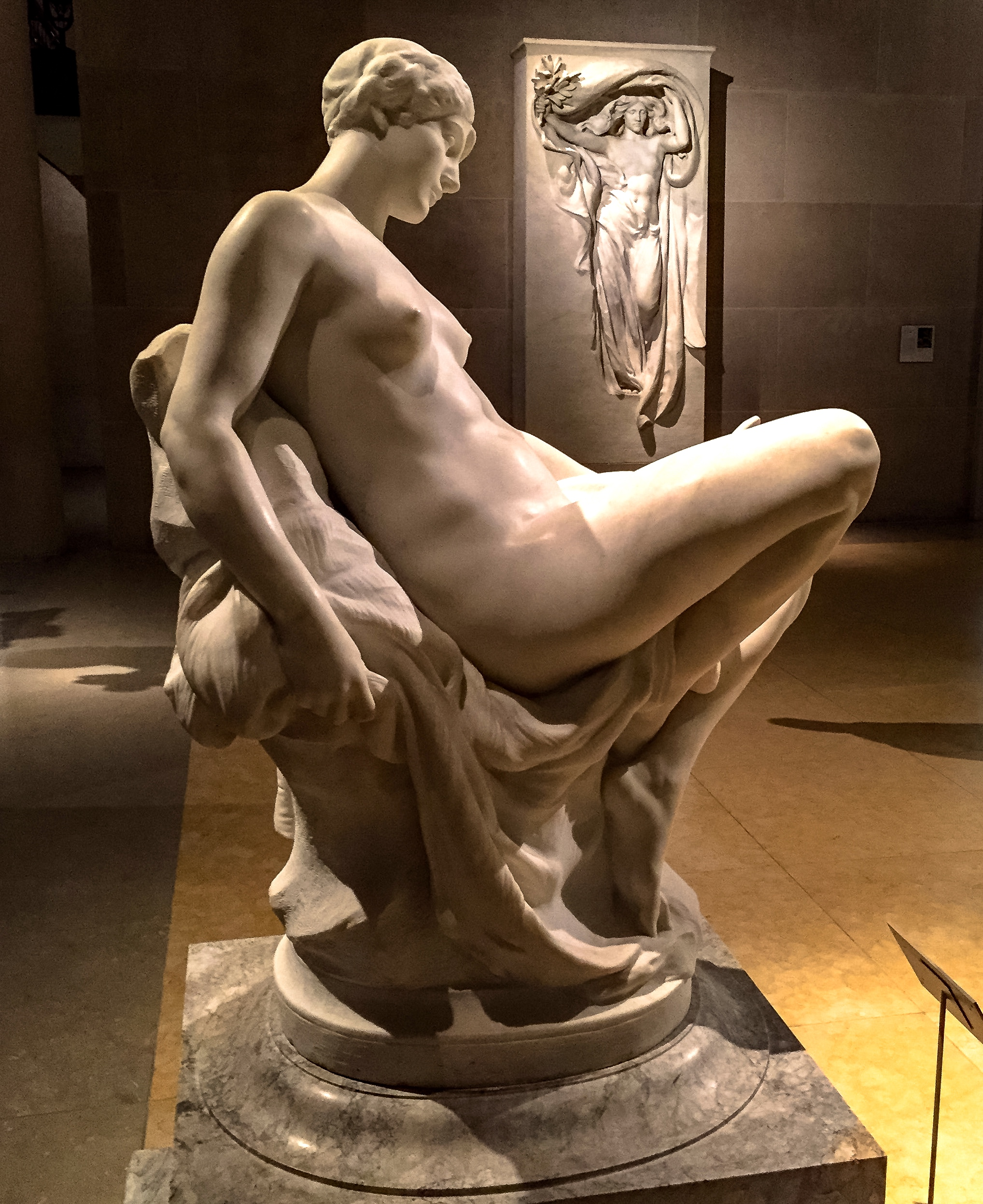 Memory  (foreground and bottom left) and  Mourning Victory  (background and bottom right) by Daniel Chester French.  Second Row:  Fragilina  by Piccirilli (left) and  Leda and the Swan  by Sarrazin (right).