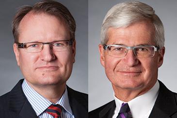 Tom Halverson, left, and Bob Engel as CoBank's CEO. Photo Courtesy CoBank/American Banker