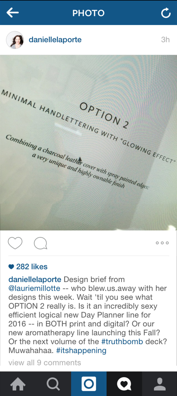 Screen-capture of  Danielle LaPorte's Instagram feed