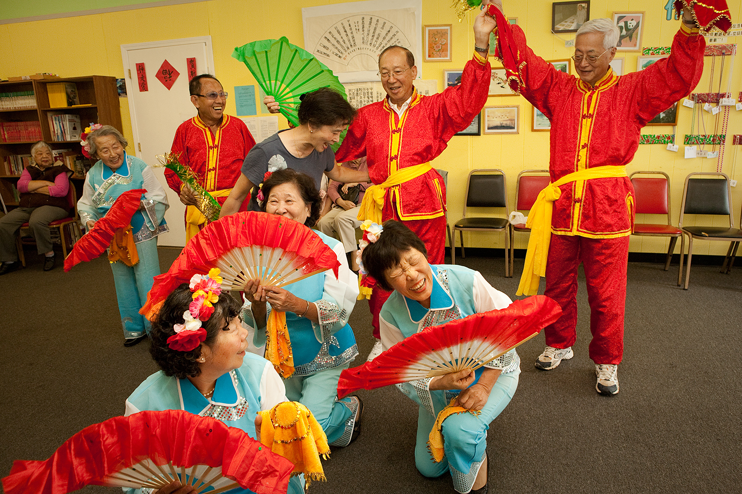 A group at the St. Louis Christian Chinese Community Service Center practices a performance for their annual fundraiser night.