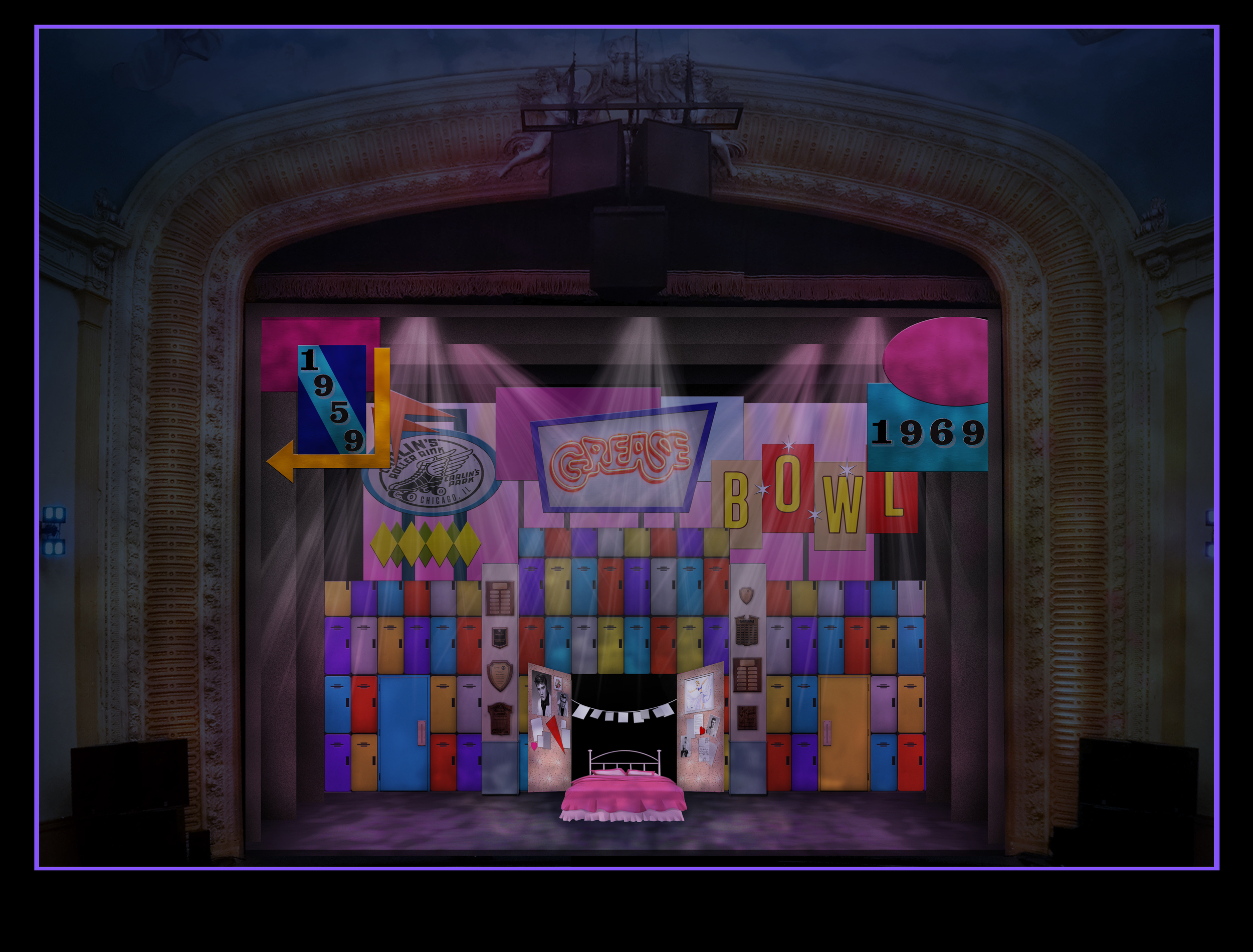 Scenic Rendering:  Grease-  Pittsburgh Musical Theater  Directed by Trey Compton; Scenic Design- Jeffrey Perri