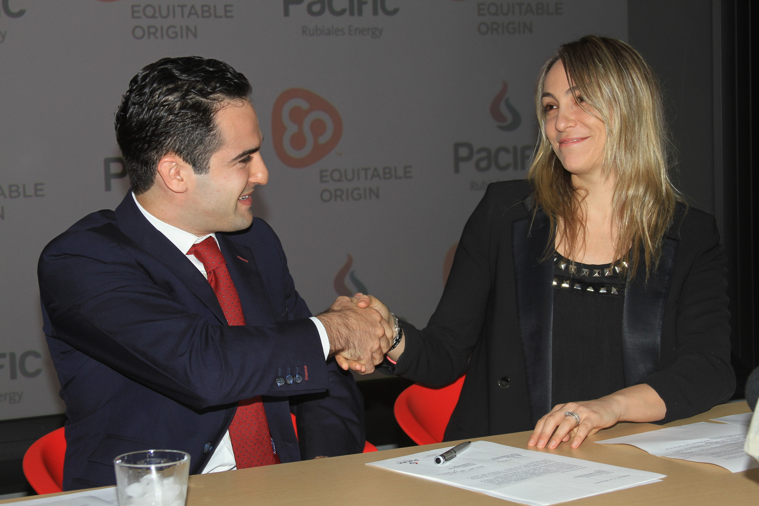 David Poritz and Valeria    Santos   , Sustainability Manager at  Pacific Rubiales  .