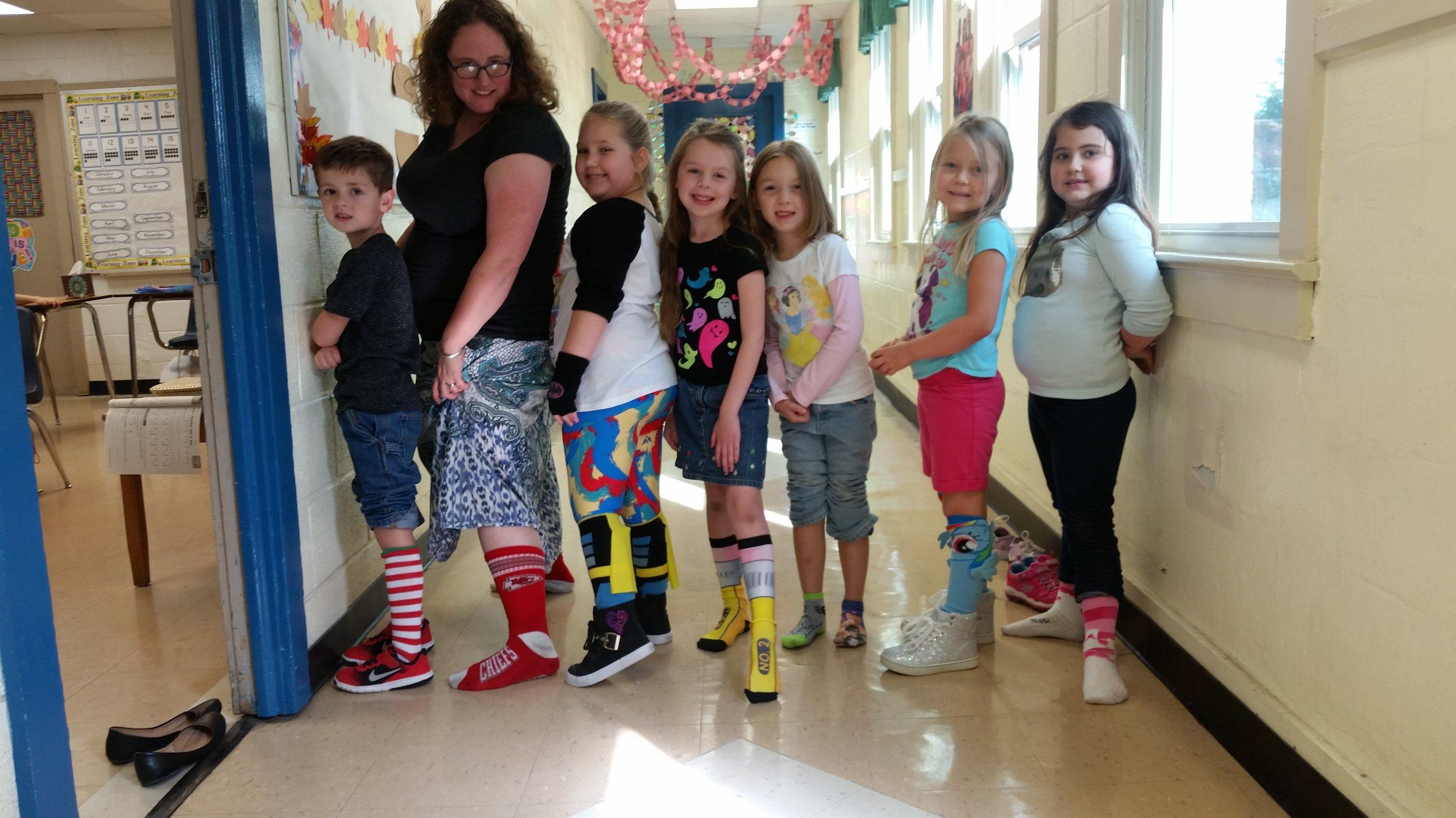 1st Grade on Crazy Sock Day