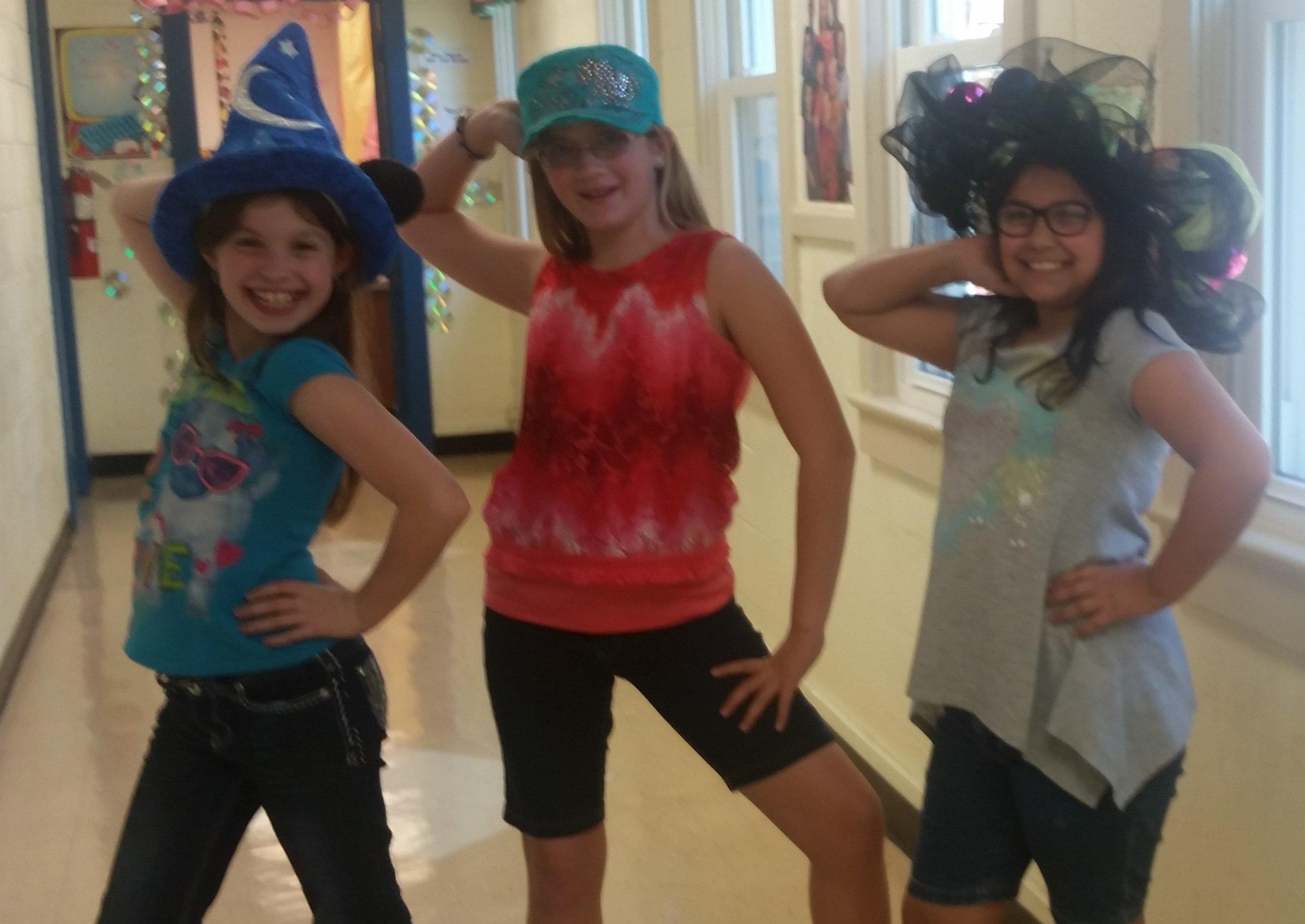 5th Grade Girls on Crazy Hat Day
