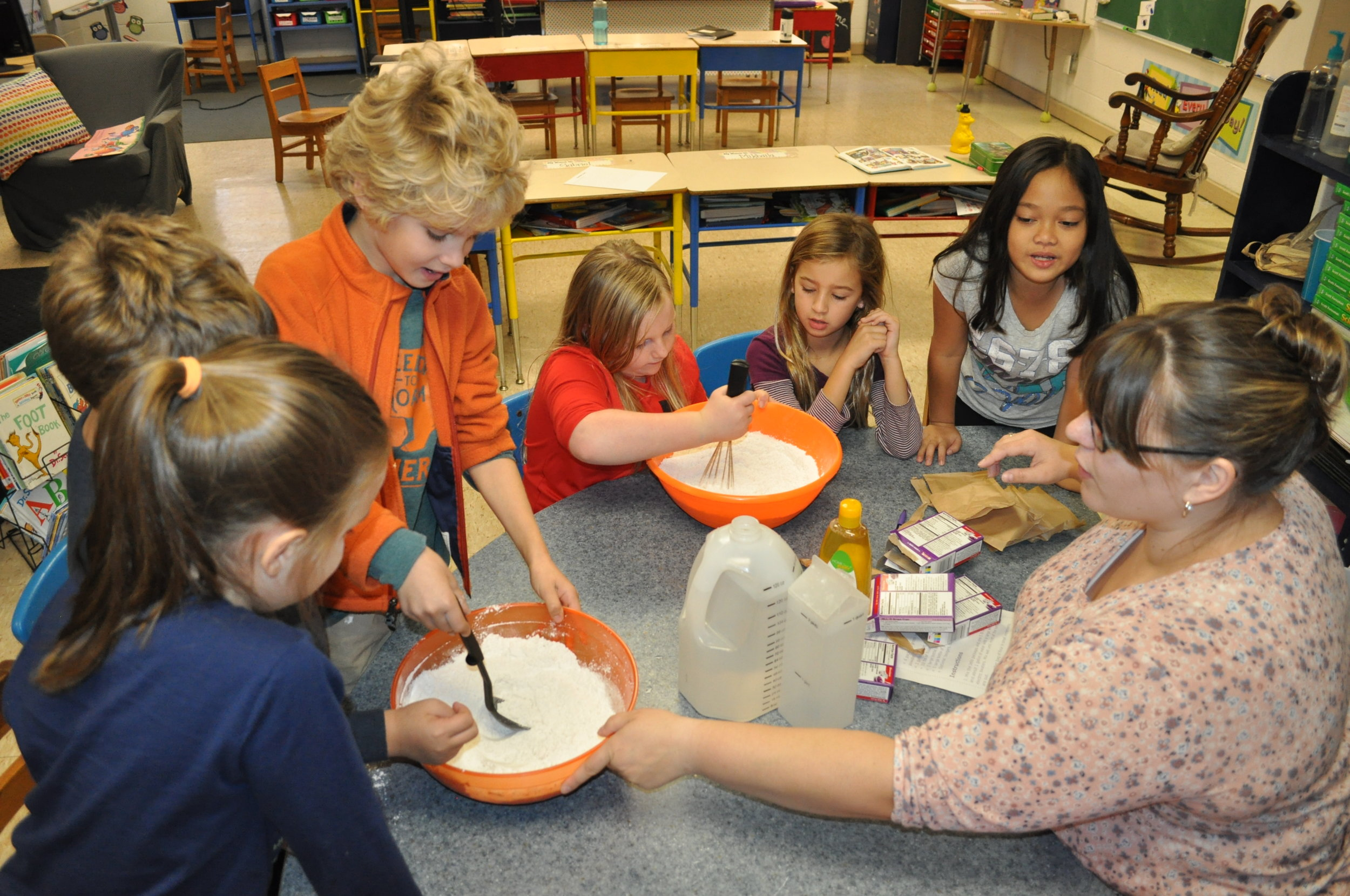 Slime making was a fun experiment for our 2nd and 5th graders to make!