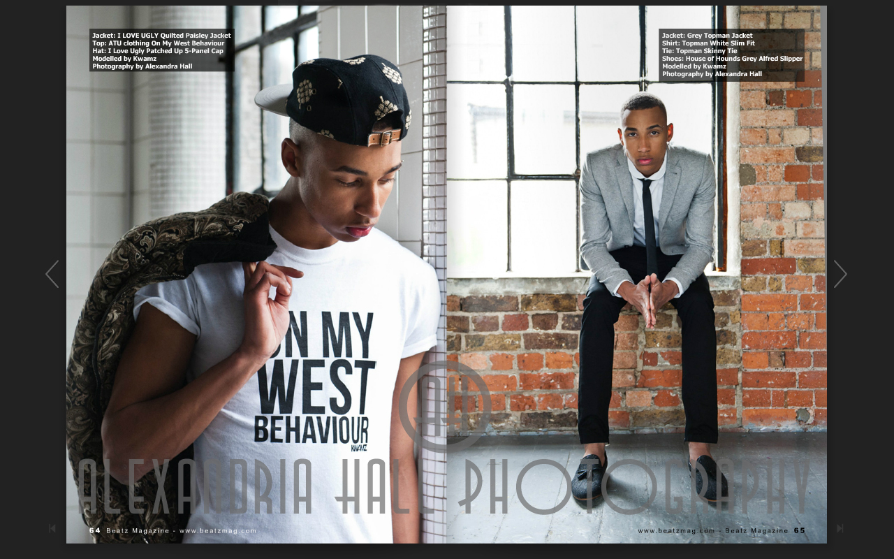 London Fashion Photography shoot  for  Beatz Magazine Issue 5 (page 64), interview with  Ato Alexander