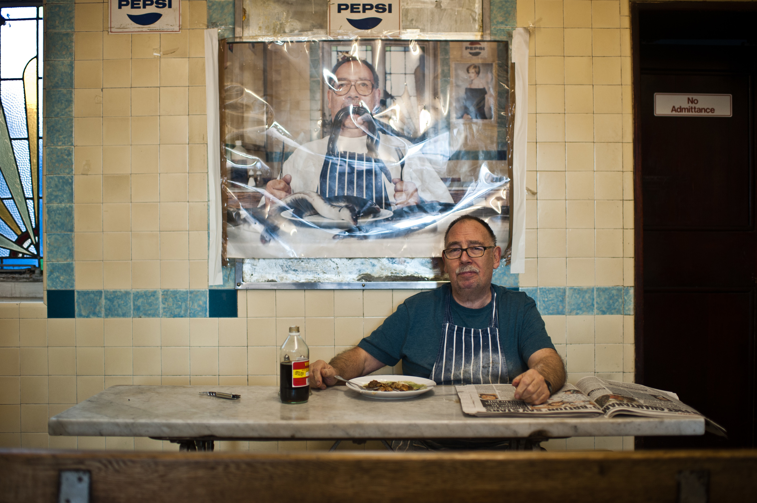 A portrait of Bob Cooke, The owner of F.Cooke's Pie and Mash.