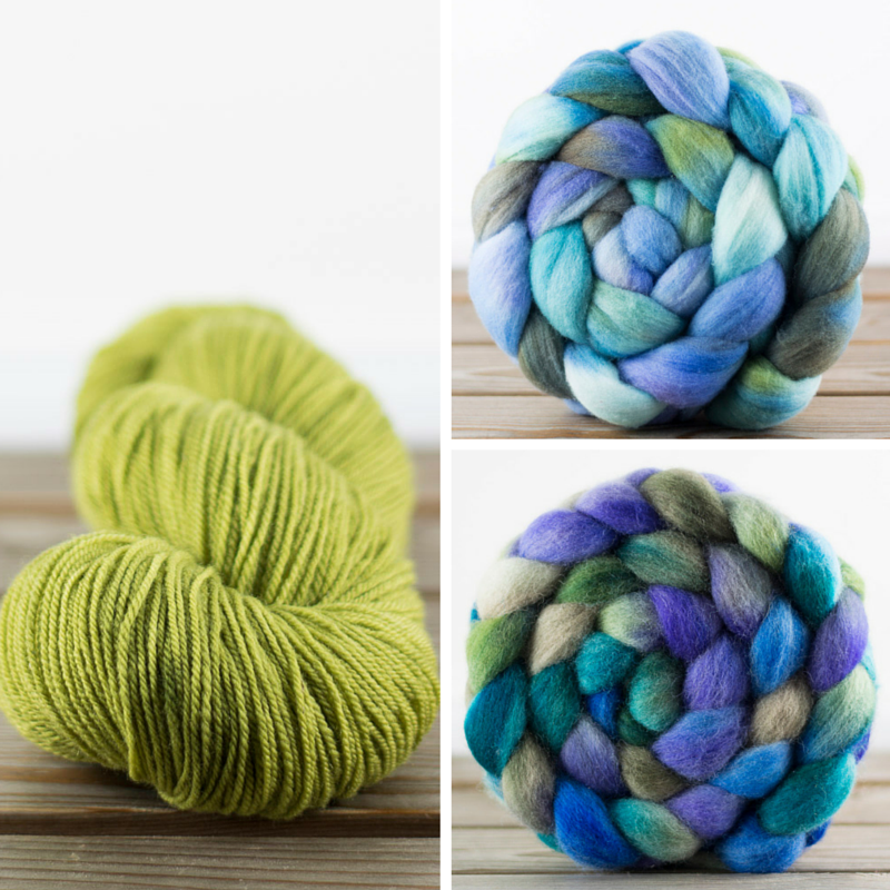 Left: immersion-dyed yarn. Top right: a kettle-dyed bump. Bottom right: a hand-painted bump, in the same colorway.
