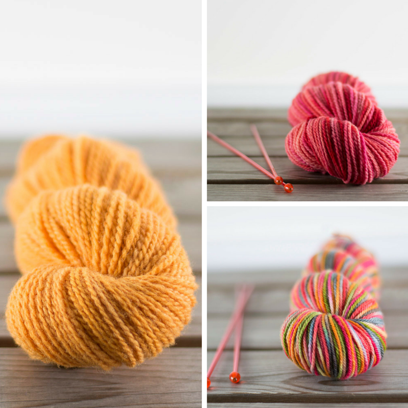 Clockwise from left:  Suffolk Worsted in Vitamin C  (solid),  Rambouillet Worsted in Beth Smith's Pink  (semi-solid),  Sustainable Merino DK in Upside Down  (variegated).