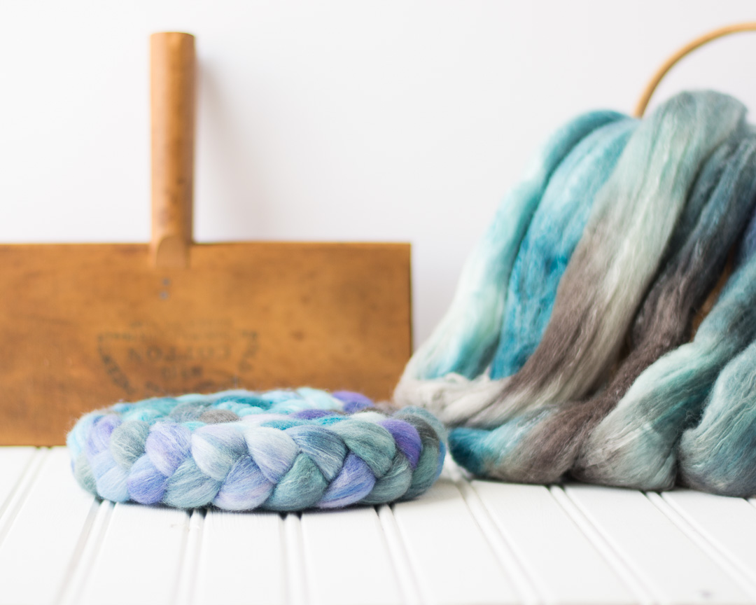 A delicious blend of 80% Organic Polwarth and 20% Bombyx silk, new to the shop, shown here in Still Waters Run Deep
