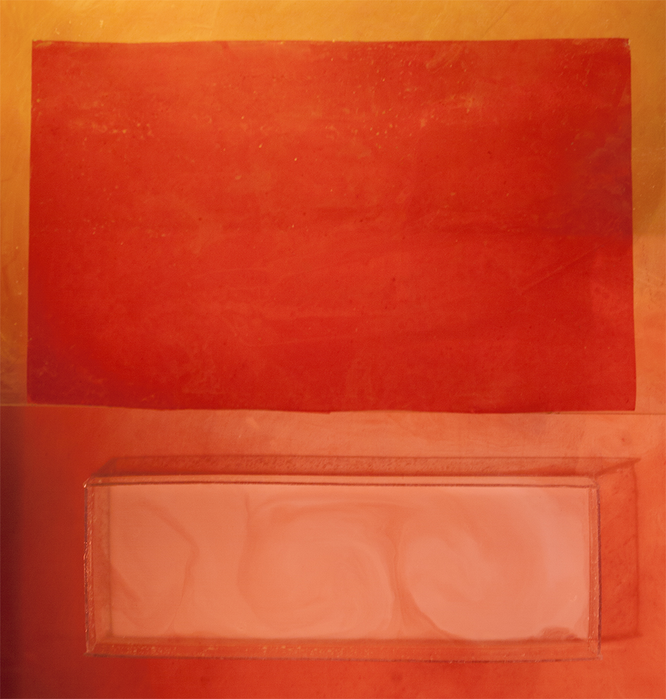 Uppoava valkoinen punaisessa pilvessä, 105x100cm, 2018