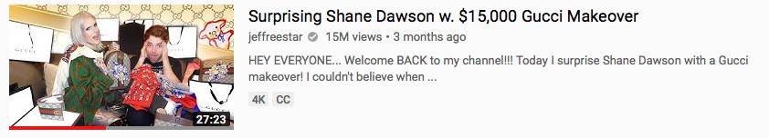 Surprising Shane Dawson with w. $15,000 Gucci Makeover