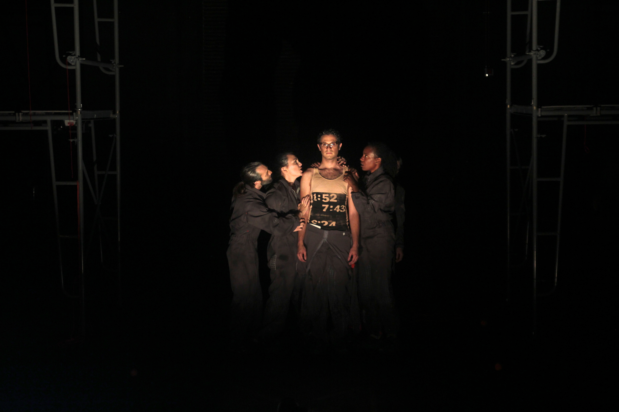 Scenic and Costume designs by Brunella Provvidente and Anastasia Schneider; Lighting design by Adam Vachon; Media design by Jacob Pinholster. Photo credit: Tim Trumble