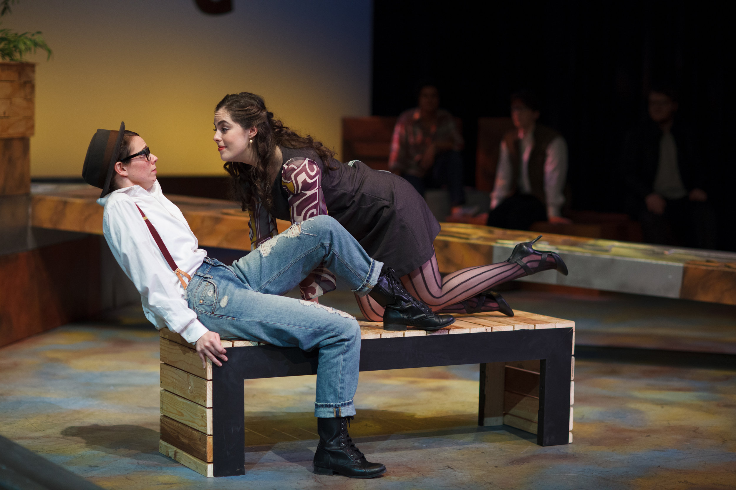 Olivia Anderson as Viola and Katie Wight as Olivia in  Twelfth Night,  Wood-Mar Auditorium, 2014