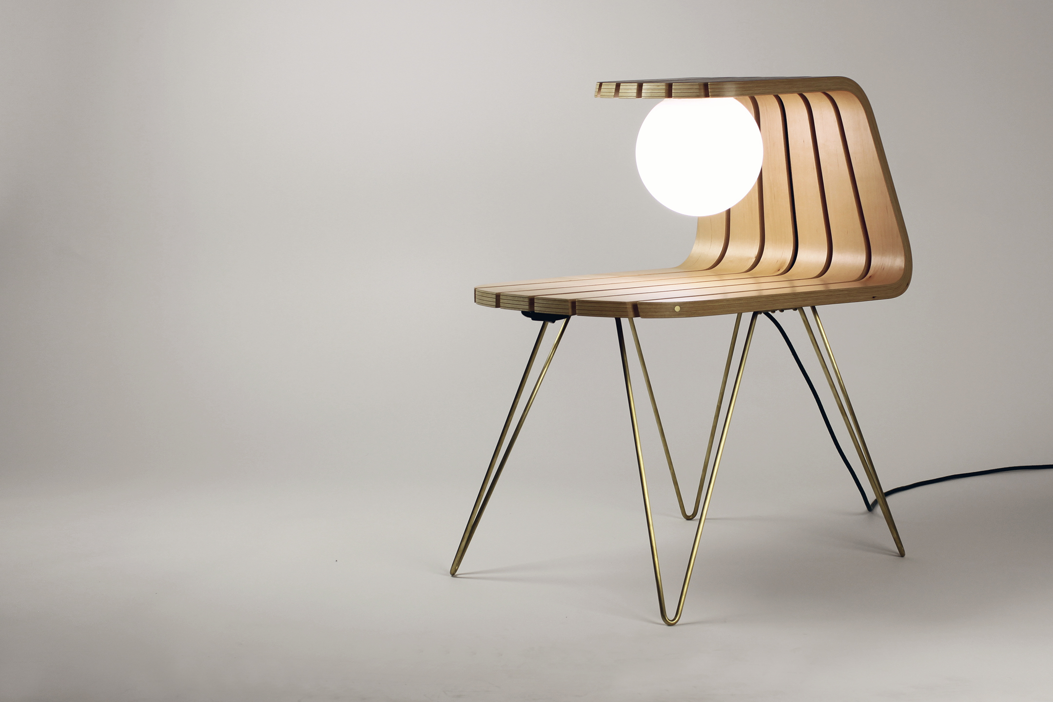 BENT FLEXIPLY W/ WALNUT EXTERIOR AND MAPLE INTERIOR; glass globe; solid brass LEGS and hardware; smart bulb
