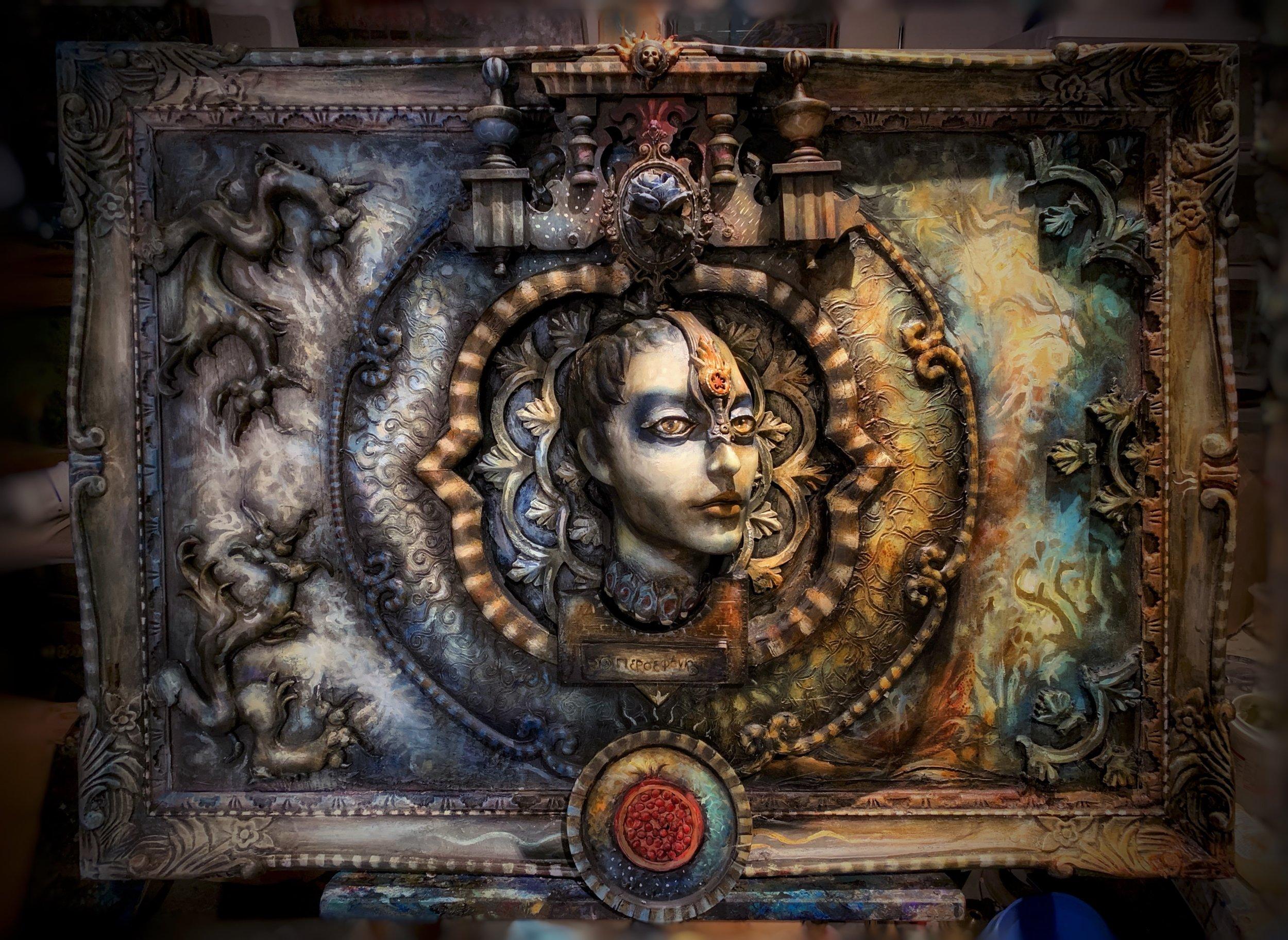 """Persephone"" Found Object Sculpture 30""x42""x5"""
