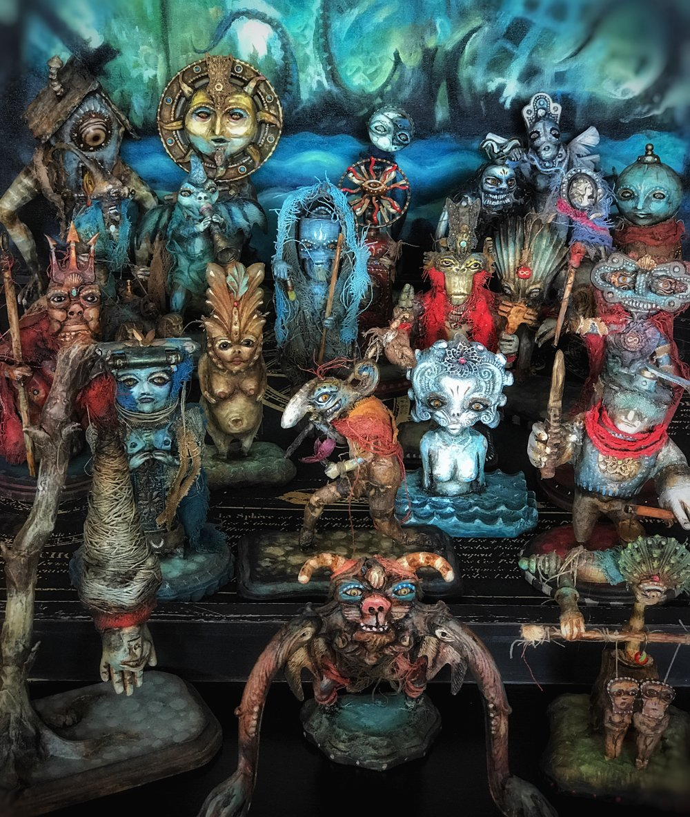 """""""Tarot Theatre"""" Found Object Sculptures.  Various sizes."""