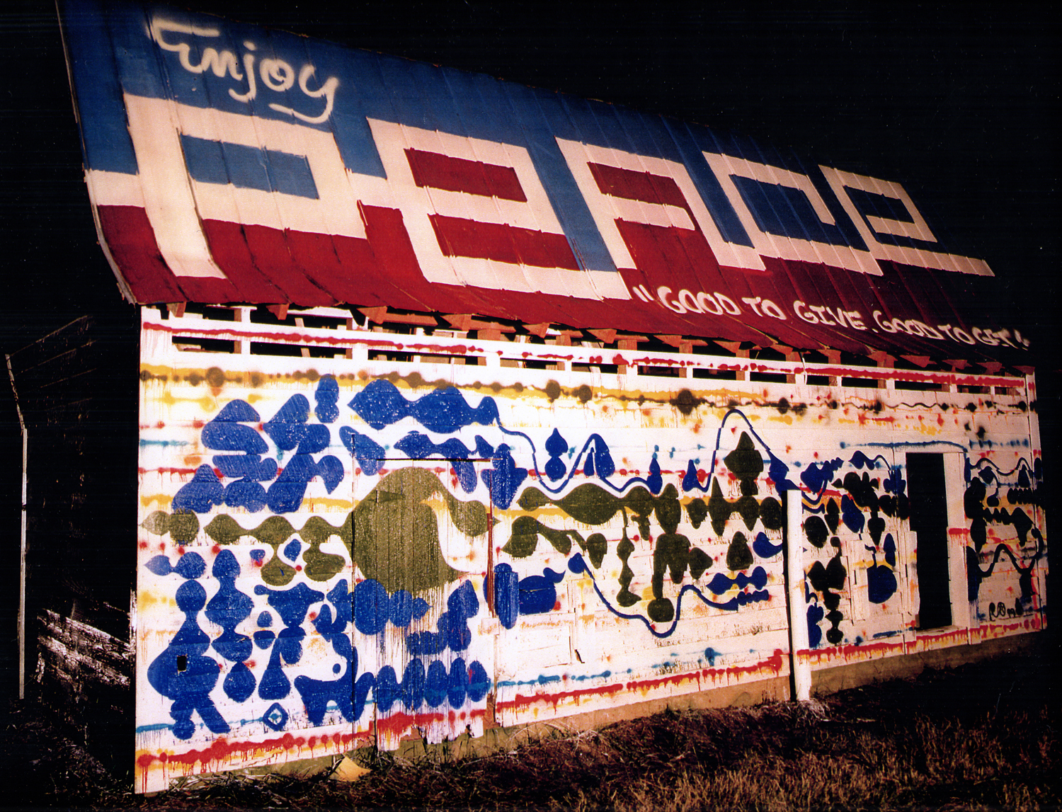 installation view,  Dog House of Peace  Cameron, N.C., 1999  with Steve 'ESPO' Powers photo by  Marlene Marino
